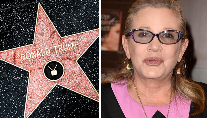 trump star carrie fisher feat