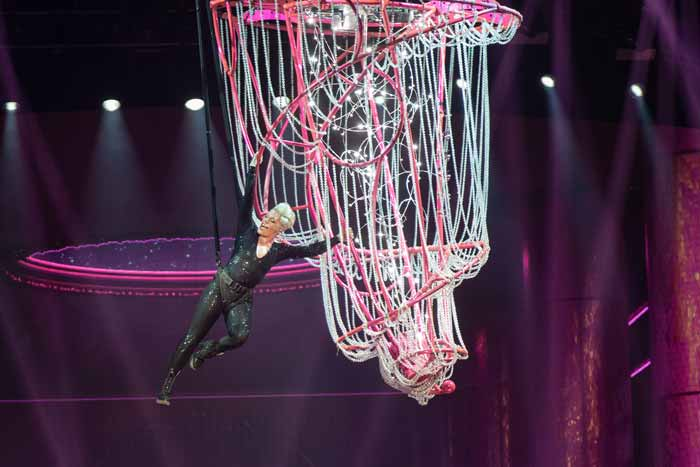 Pink tour aerial chandelier