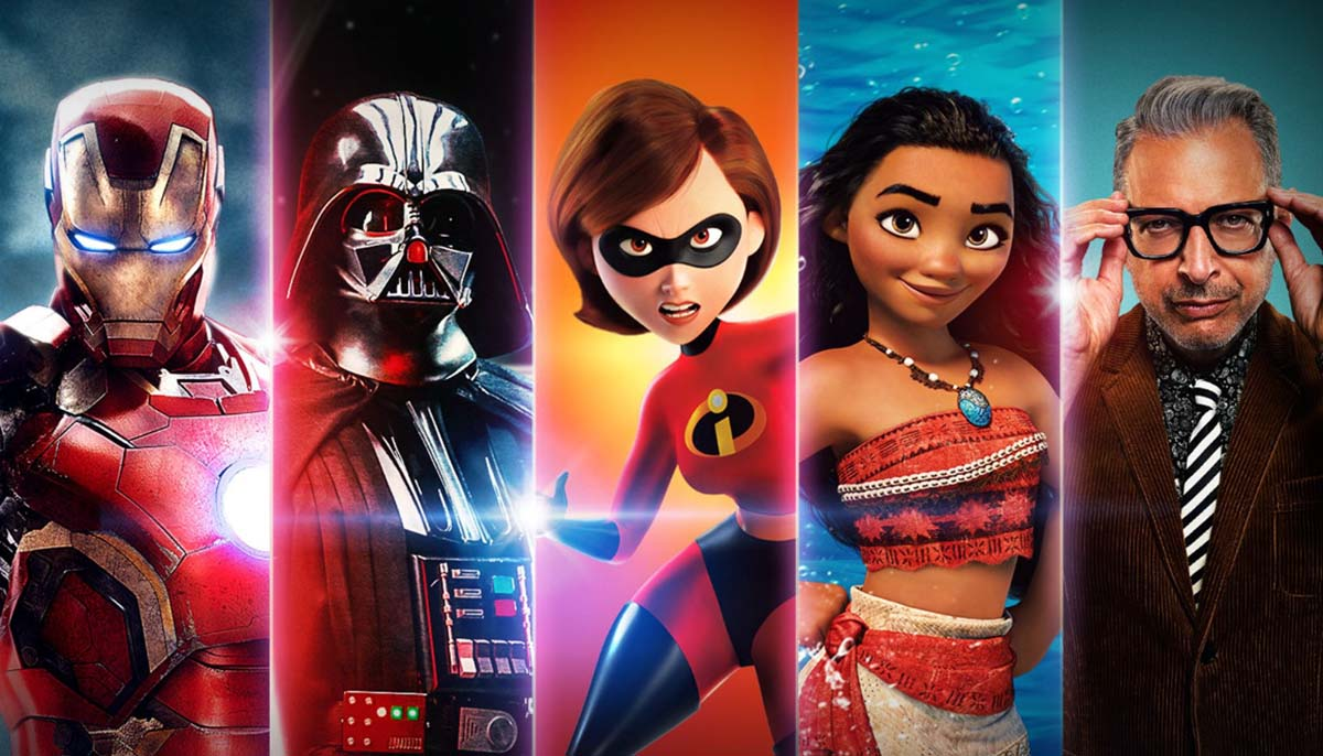 collage of titles available on Disney Plus including Jeff Goldblum, Moana, The Incredibles, Darth Vader, and Iron Man