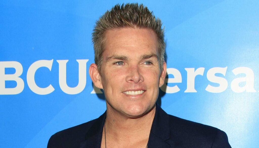 Mark McGrath, Sugar Ray Frontman against a blue background