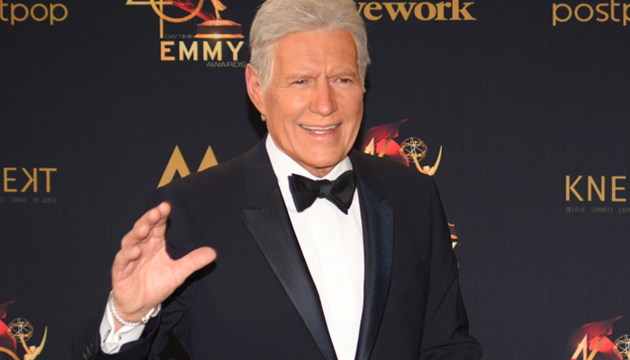 alex trebek on the red carpet for the emmy awards