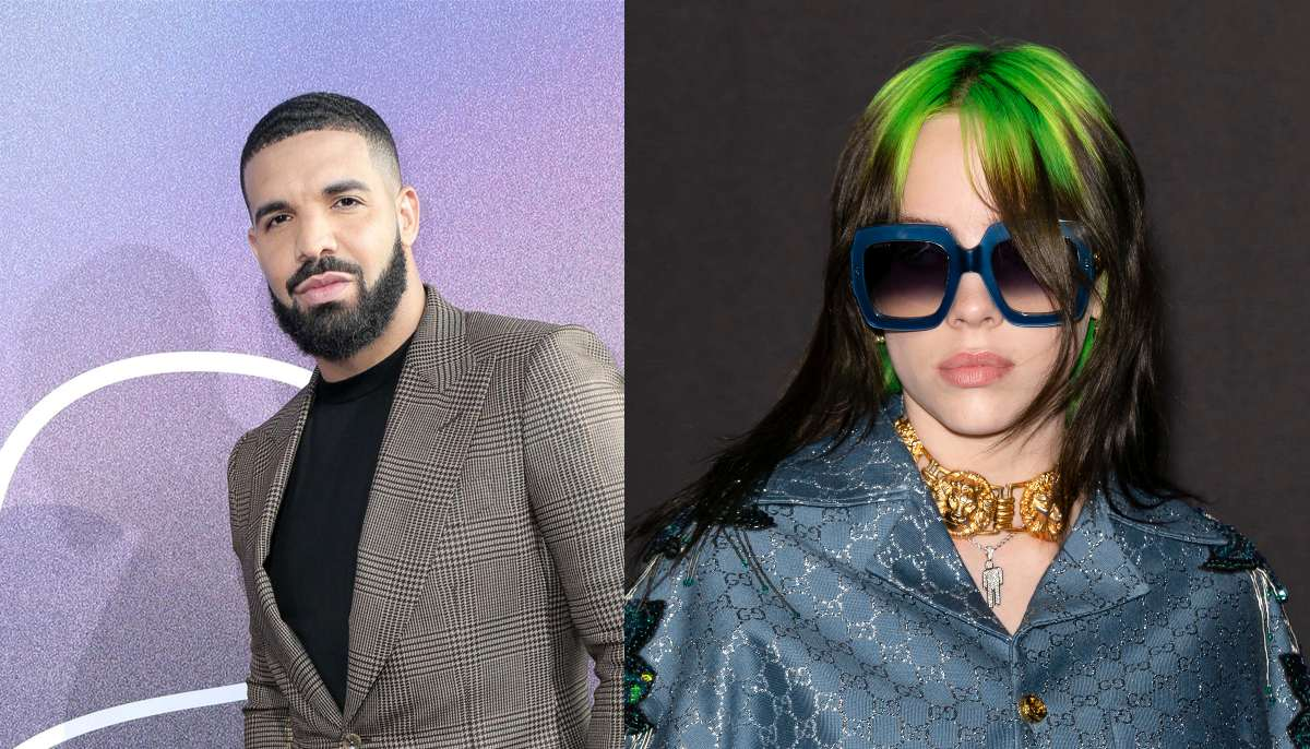 drake on the left wearing a grey suit and billie eilish on the right wearing a blue jacket, gold necklaces, with oversized sunglasses