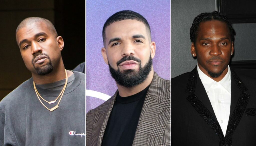 rappers kanye west, drake, and pusha t