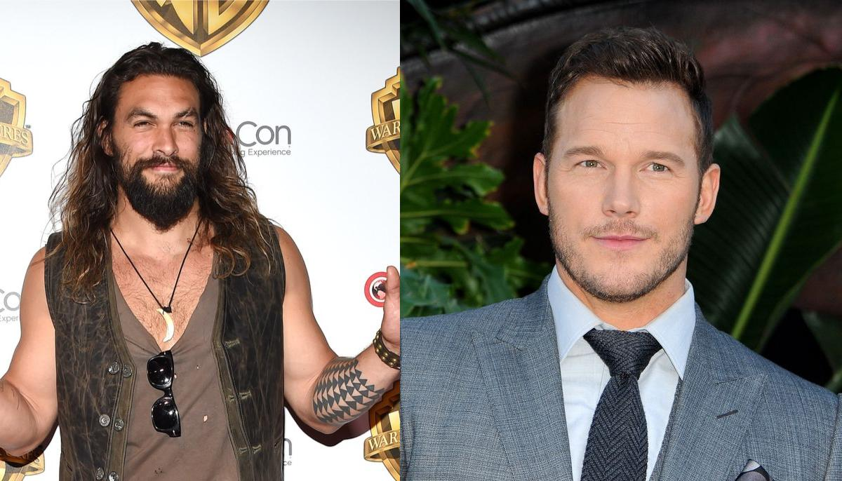 jason momoa on the left wearing a vest and v neck tank top, chris pratt on the right wearing a grey suit and tie