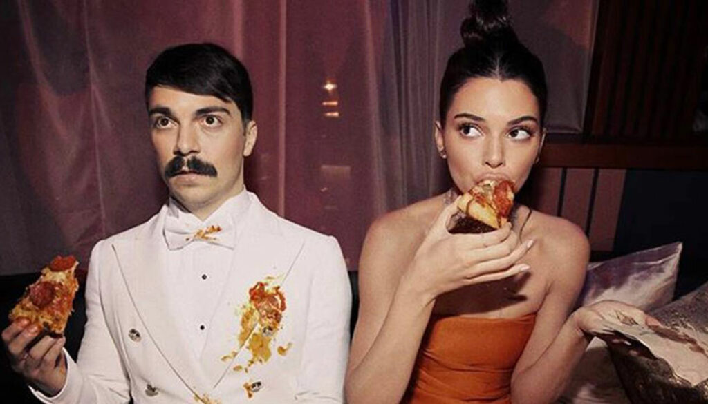 kendall jenner and kirby jenner instagram personality eating pizza