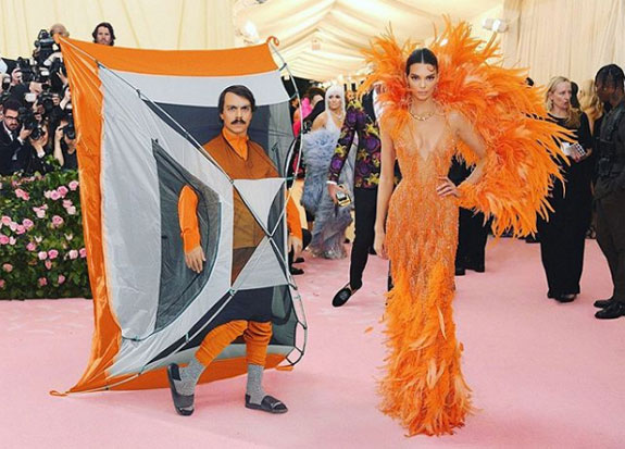 kendall jenner on the red carpet, kirby jenner dressed in a camping tent