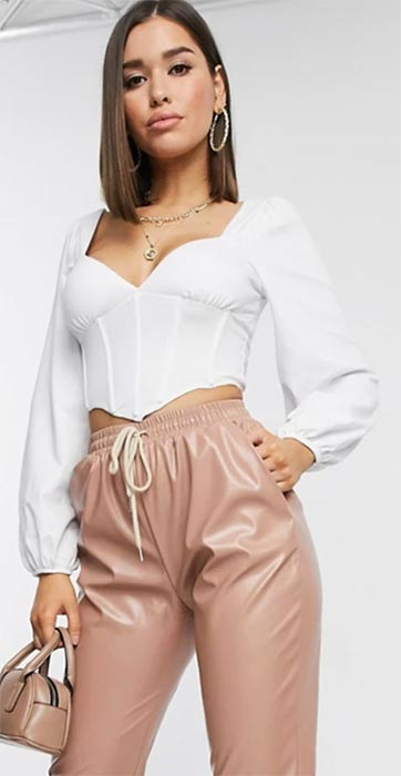 long sleeve corset top in white